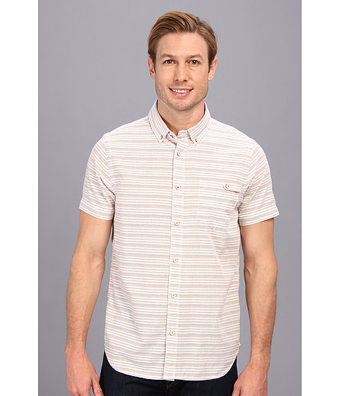 Howe - Jump Lo Mixed Striped S/S Shirt (Bone) Men's Short Sleeve Button Up