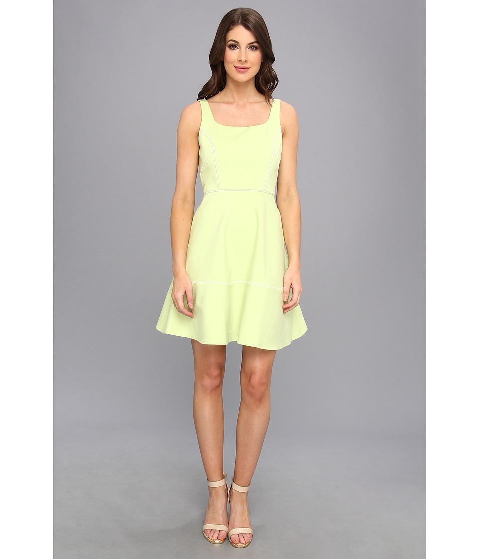 ABS Allen Schwartz - Square Neck Dress w/ Piping (Lime) Women