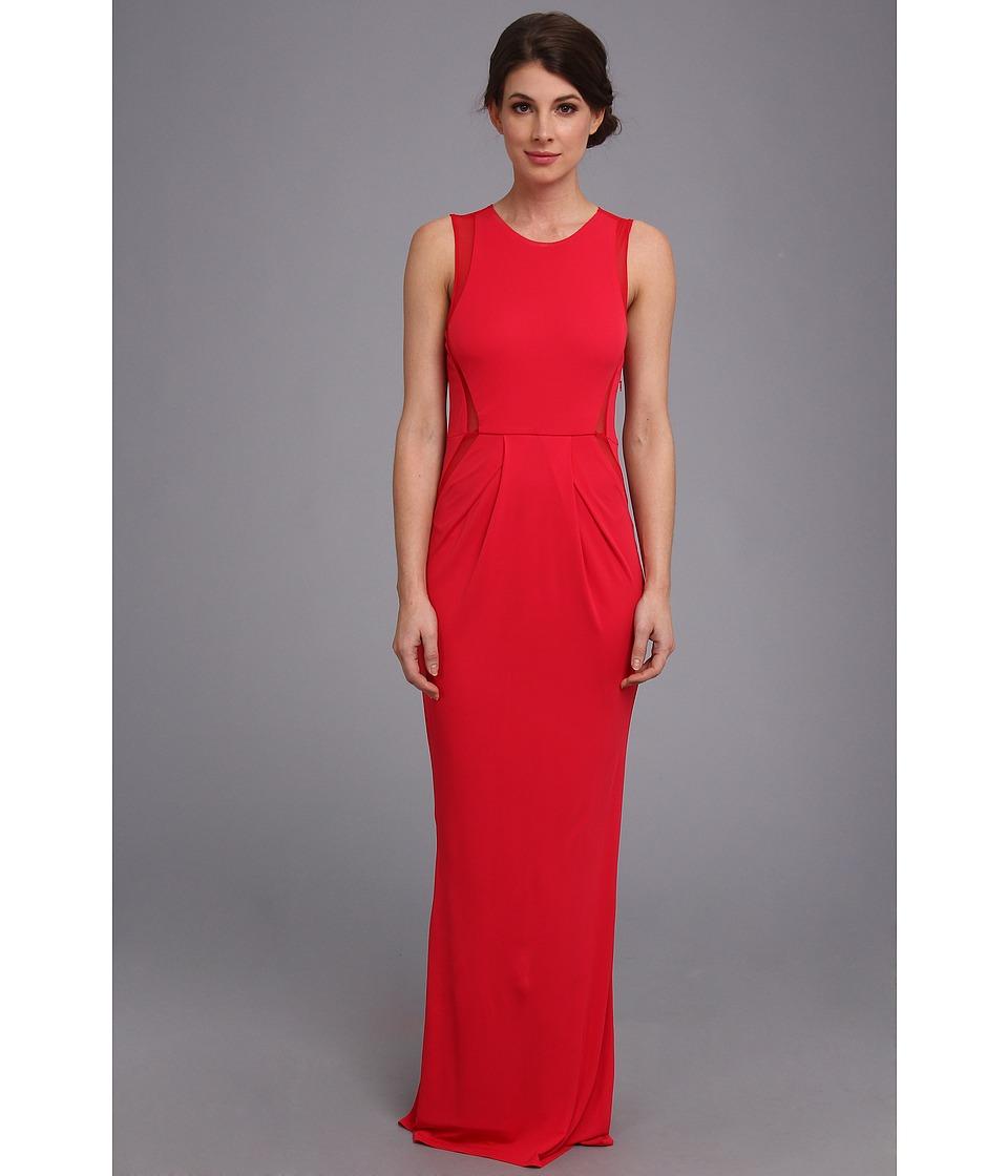 ABS Allen Schwartz Jersey Round Neck Dress w/ Mesh Insets Womens Dress (Red)