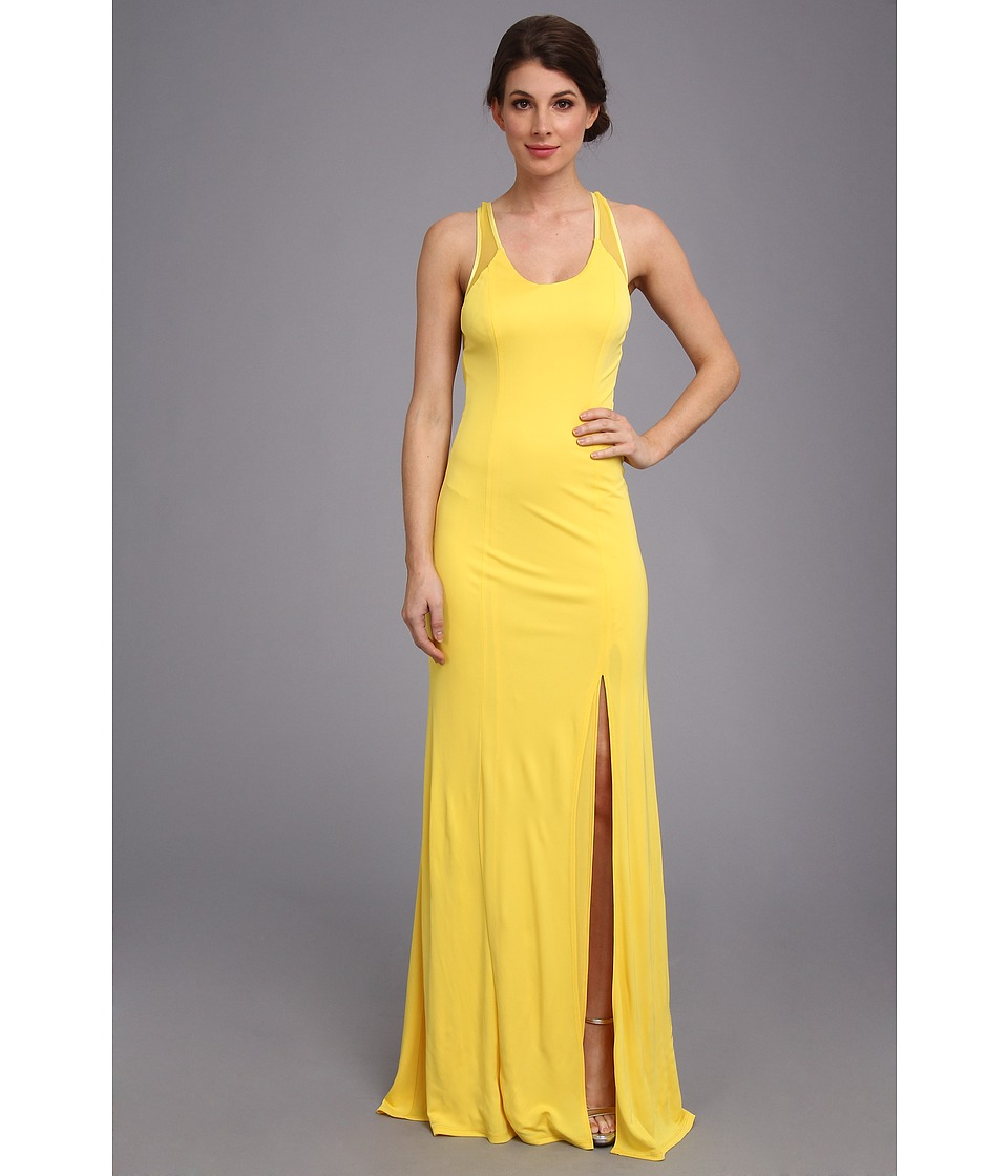 Image of ABS Allen Schwartz - Tank Gown w/ Slit and Cross-Back Mesh Detail (Yellow) Women's Dress