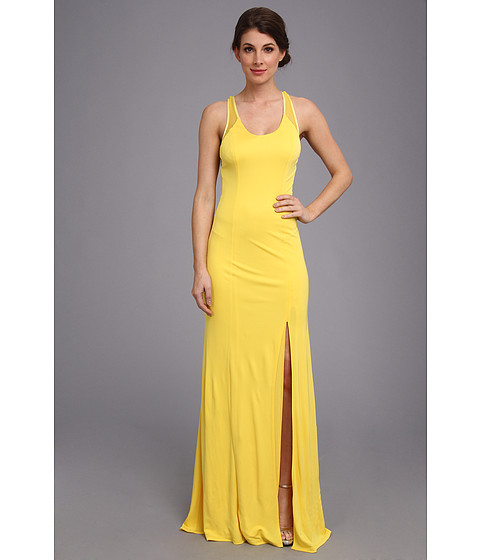 ABS Allen Schwartz - Tank Gown w/ Slit and Cross-Back Mesh Detail (Yellow) Women's Dress