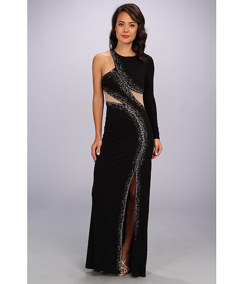 ABS Allen Schwartz - One Shoulder Embelished Gown w/ Mesh Insets (Black/Nude) Women