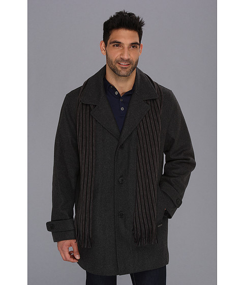 Calvin Klein - Wool Scarf Coat (Medium Grey) Men's Coat