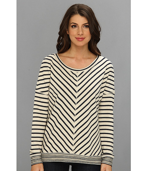 LAmade - Stripe Pullover French Terry (Navy/Cream) Women's Long Sleeve Pullover