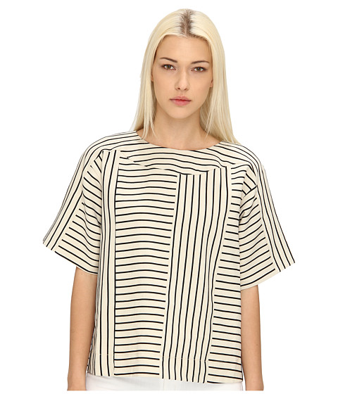 See by Chloe - S/S Top w/ Back Zipper (ECRU/Jet Black) Women