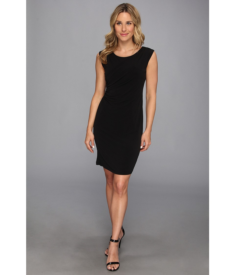 Calvin Klein - Sleeveless Double Layer Wrap Dress (Black) Women's Dress