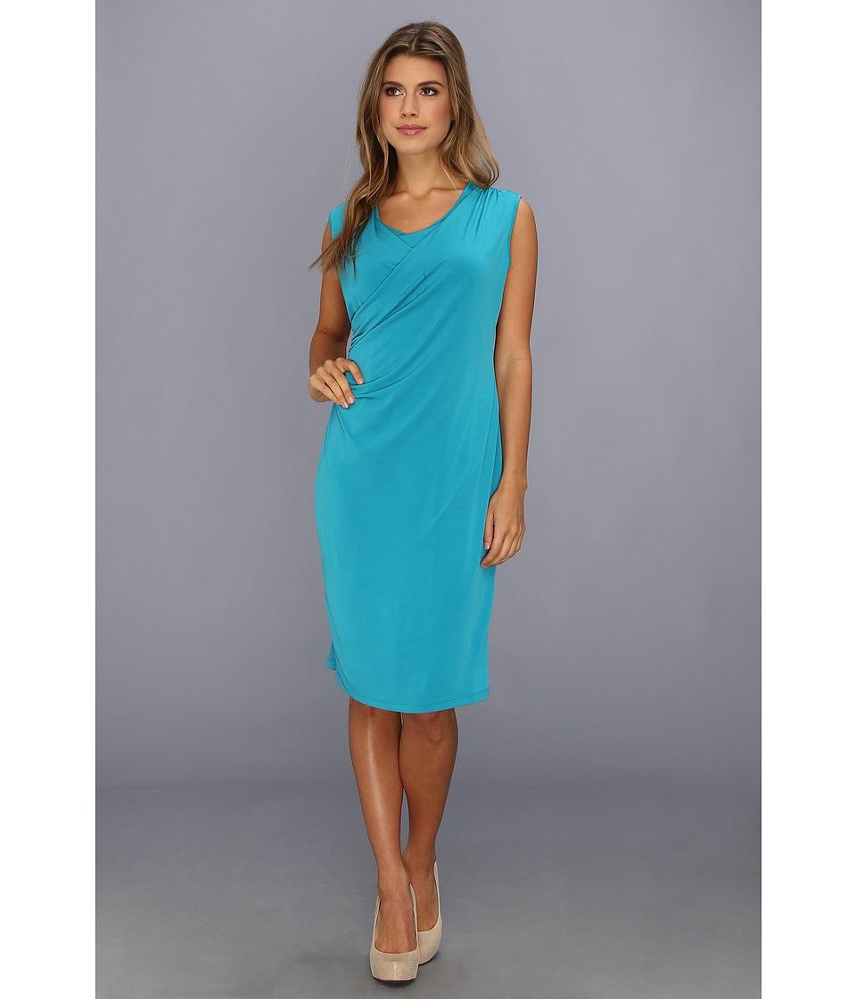 Calvin Klein - Sleeveless Double Layer Wrap Dress (Lagoon) Women