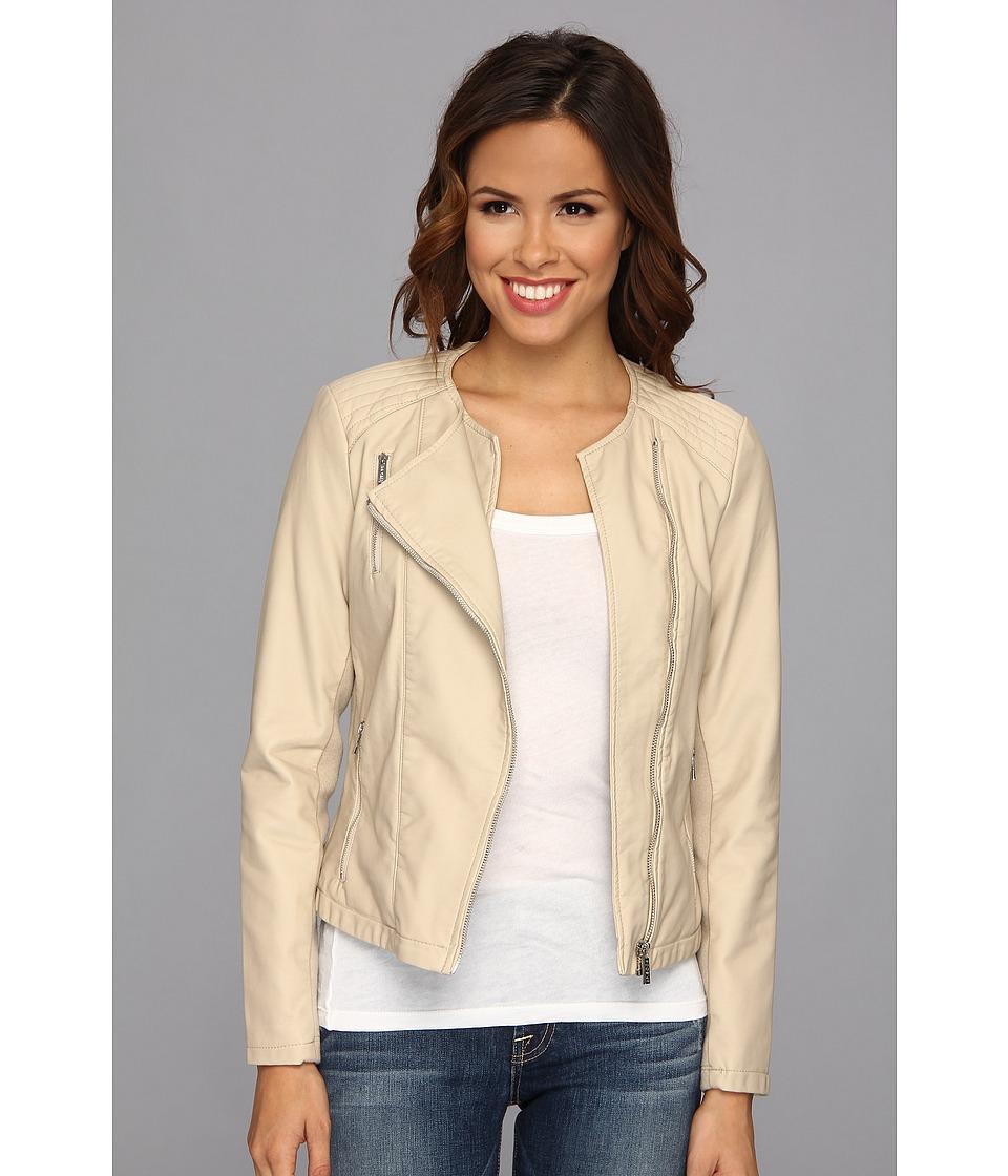 Calvin Klein - Collarless Moto Jacket (Latte) Women's Coat