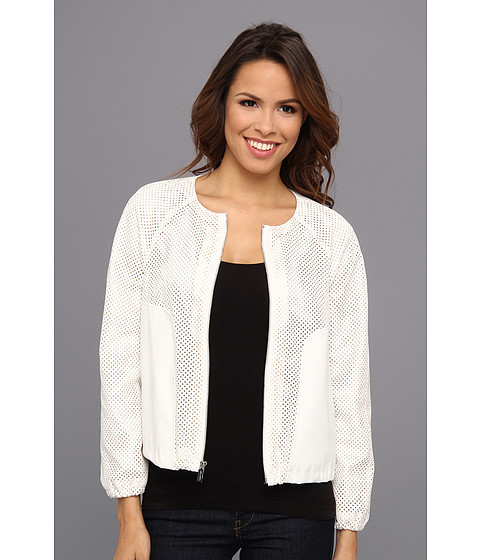 Calvin Klein - Perforated Polyurethane Bomber Jacket (Birch) Women
