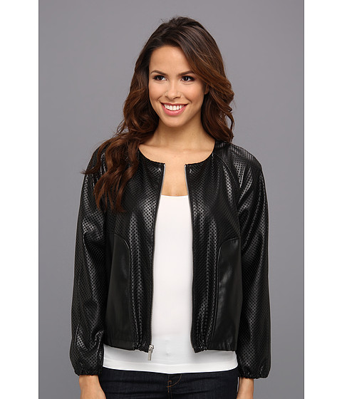 Calvin Klein - Perforated Polyurethane Bomber Jacket (Black) Women's Coat