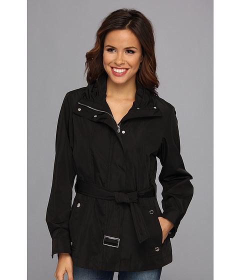 Calvin Klein - Tie Front Coat (Black) Women's Coat