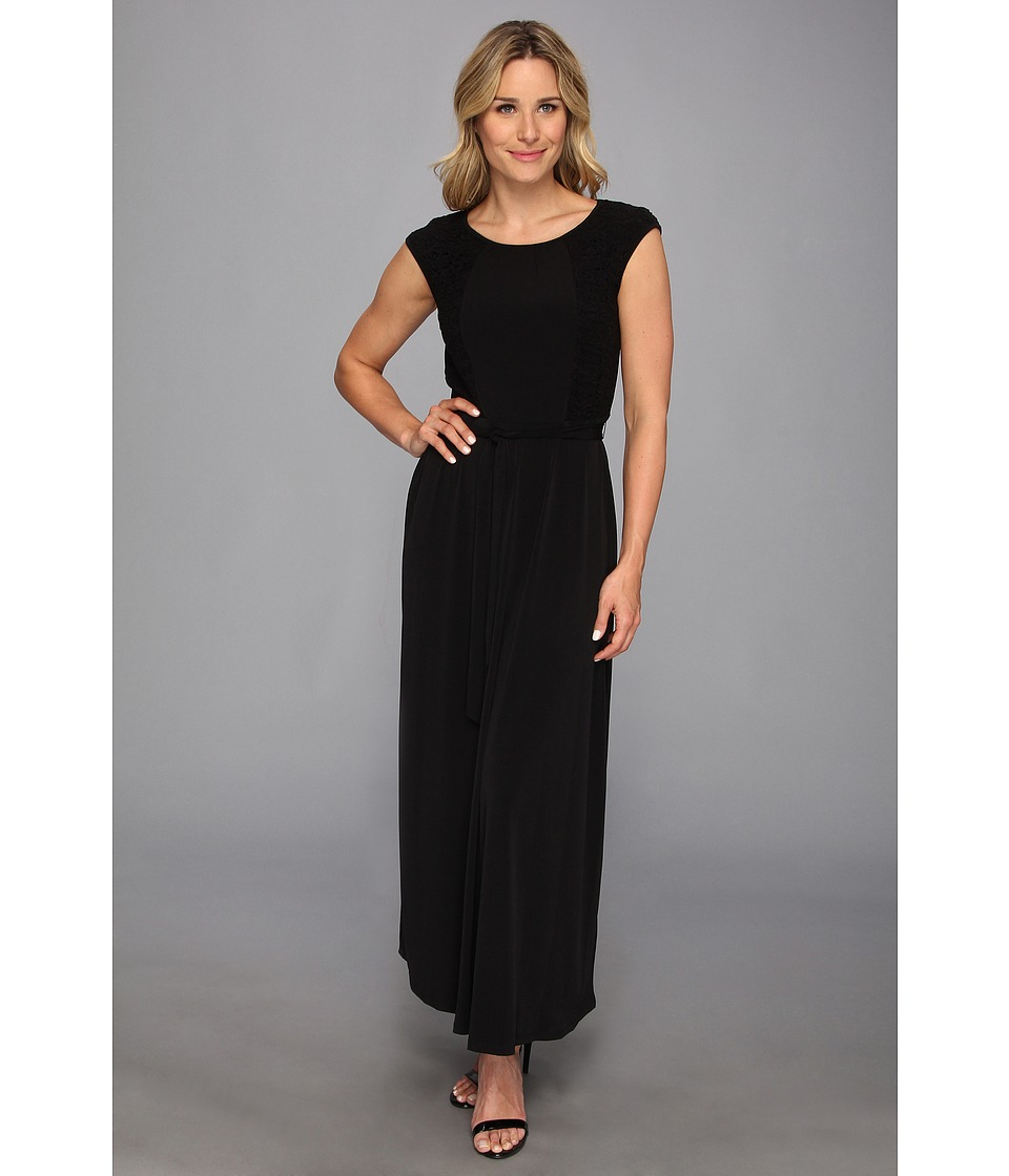 Calvin Klein - Cap Sleeve Maxi Dress w/ Lace (Black) Women