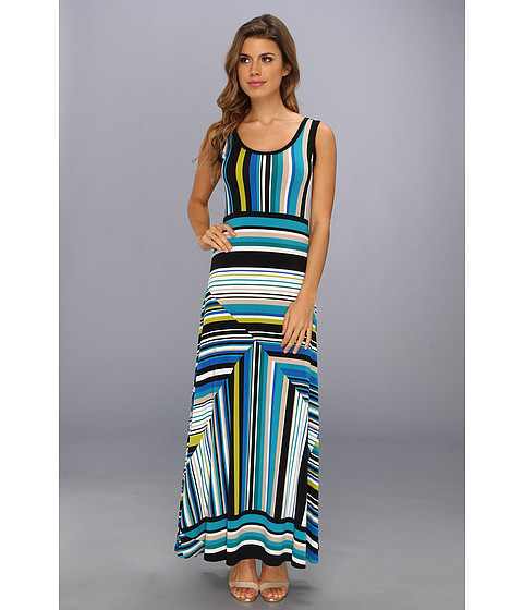 Calvin Klein - Printed Matte Jersey Maxi Dress (Aloe Multi) Women's Dress