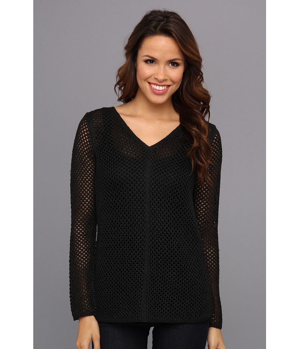 Calvin Klein - V-Neck Chain Yarn Sweater (Black) Women's Sweater
