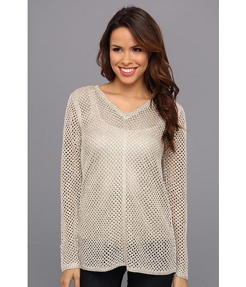 Calvin Klein - V-Neck Chain Yarn Sweater (Latte) Women's Sweater