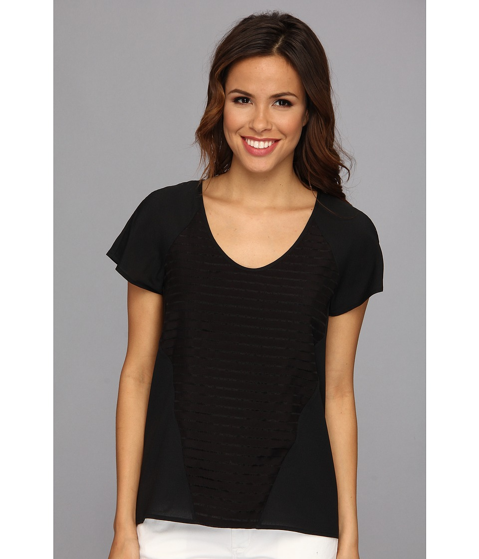 Calvin Klein - S/S Stripe Combo Top (Black) Women