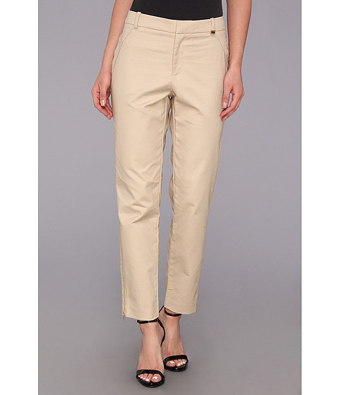 Calvin Klein - Skinny Double Layer Cotton Pant (Latte) Women
