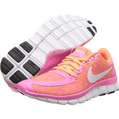 Nike Free 5.0 V4 (Pink Glow/White/Atomic Orange) Women's Shoes