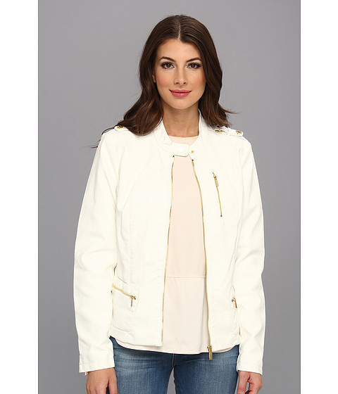 Calvin Klein - Tab Cuff Polyurethane Faux Leather Jacket (Ivory) Women's Coat