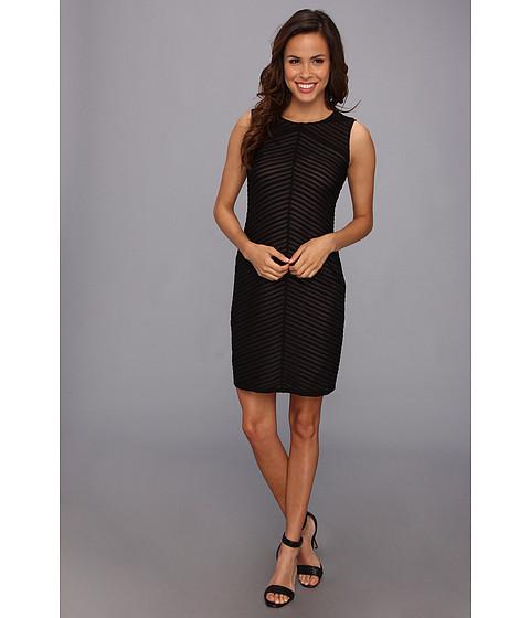 Calvin Klein - Sleeveless Solid Stripe Dress (Black) Women's Dress