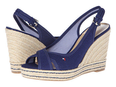 Shop Tommy Hilfiger online and buy Tommy Hilfiger Papina Navy Shoes - Tommy Hilfiger - Papina (Navy) - Footwear: Primp up with the gorgeous Papina for some fun summer style. ; Made of canvas upper. ; Buckle closure. ; Peep-toe silhouette. ; Crossing toe straps with slingback. ; Textile lining. ; Synthetic footbed. ; Rope-wrapped wedge and platform with contrast top-stitching. ; Rubber sole. ; Imported. Measurements: ; Heel Height: 3 3 4 in ; Weight: 8 oz ; Platform Height: 1 in ; Product measurements were taken using size 5.5, width M. Please note that measurements may vary by size.