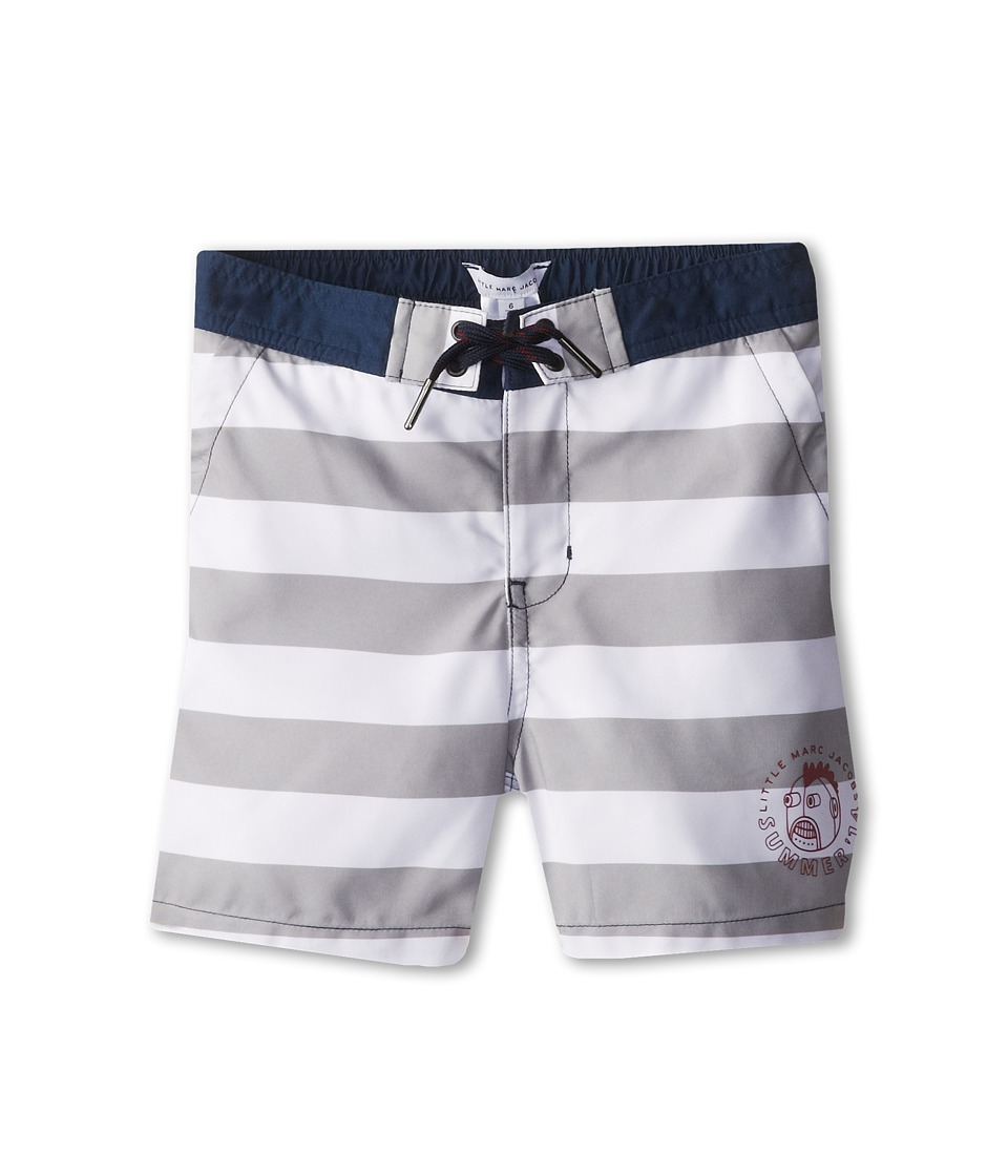 Little Marc Jacobs - Striped Swim Trunks In A Bag (Little Kids/Big Kids) (Grey White) Boy
