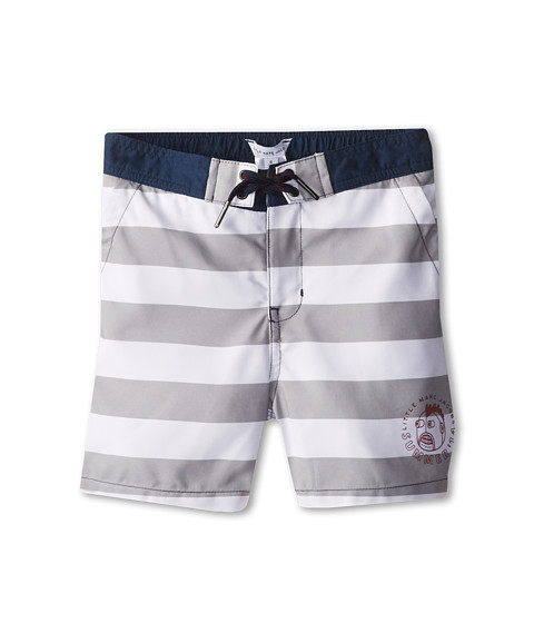 Little Marc Jacobs - Striped Swim Trunks In A Bag (Little Kids/Big Kids) (Grey White) Boy's Shorts