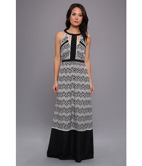Ivy & Blu Maggy Boutique - Sleeveless Animal Print Maxi (Black/White) Women's Dress