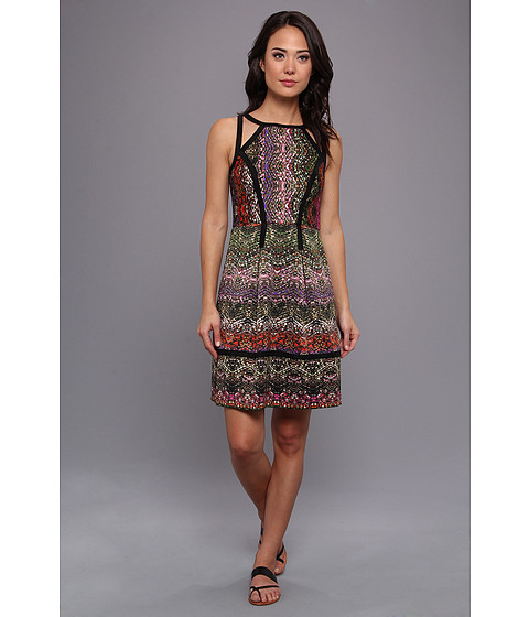 Ivy & Blu Maggy Boutique - Sleeveless Textured Tribal Print (Citrus Multi) Women's Dress