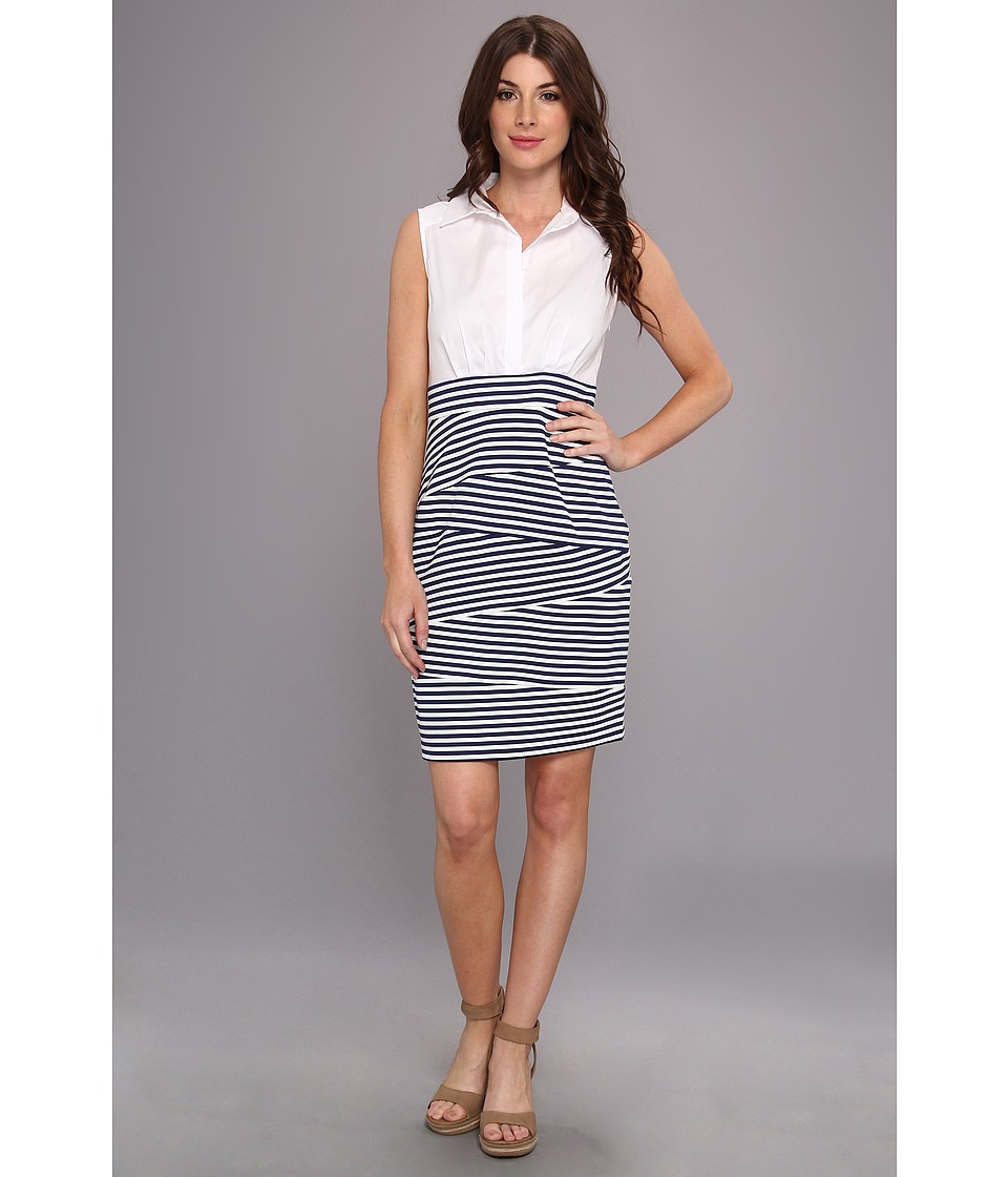 Ivy & Blu Maggy Boutique - Sleeveless Collared Two-Fer w/ Stri (Navy Multi) Women's Dress