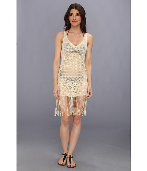 Luli Fama - Flirty Fringe Dress Cover-Up (Liquid Sand) Women's Swimwear