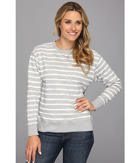 MICHAEL Michael Kors - Stripe Dropped Shoulder French Terry Sweatshirt (White) Women