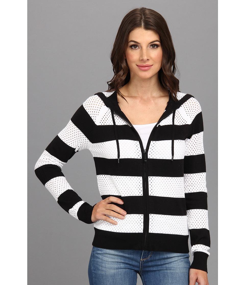 MICHAEL Michael Kors - L/S Stripe Zip Hoodie Sweater (Black) Women