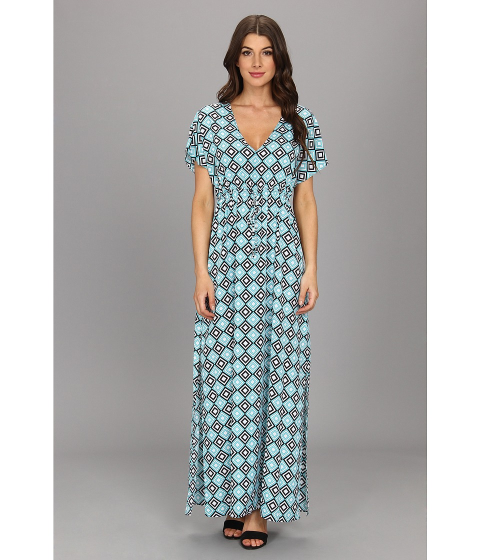 MICHAEL Michael Kors Retro Diamond Print Long Dress Womens Dress (Blue)