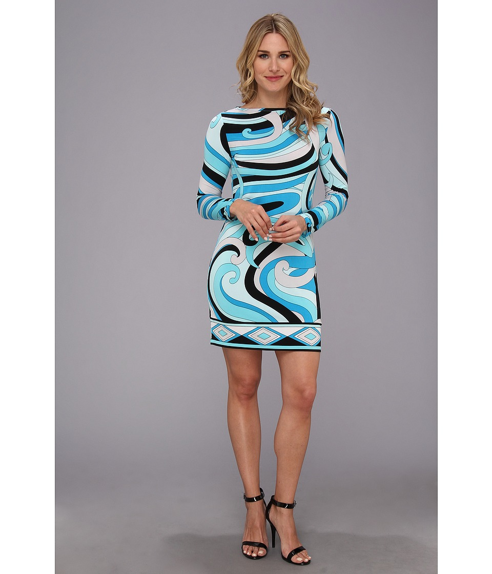 MICHAEL Michael Kors Marquee L/S Boat Neck Jersey Dress Womens Dress (Blue)