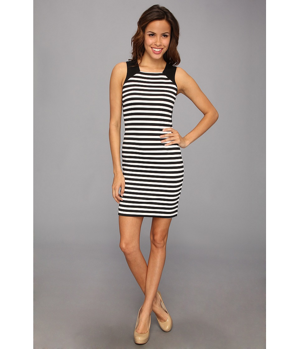 MICHAEL Michael Kors - Sleeveless Fulham Stripe Color Block Dress (Black) Women's Dress