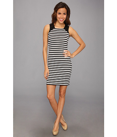 MICHAEL Michael Kors - Sleeveless Fulham Stripe Color Block Dress (Black) Women's Dress