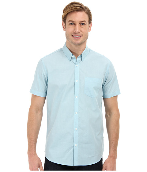Calvin Klein - End On End Fine Check Hidden Button Down S/S Sport Shirt (Escalante) Men's Short Sleeve Button Up