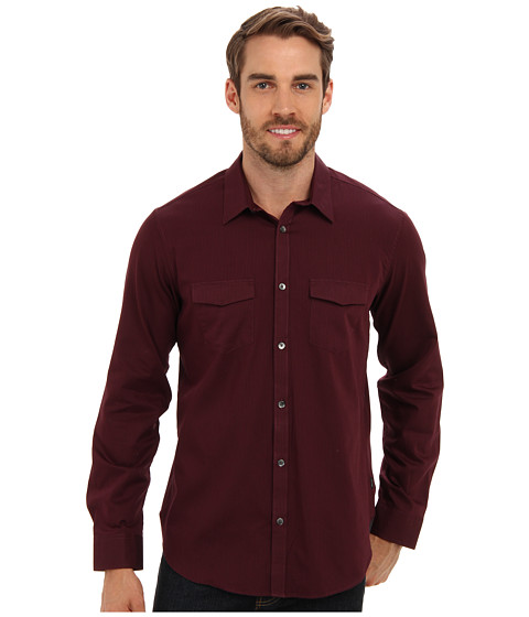 Calvin Klein - YD Framboise Bar-Stripe Lino L/S Shirt (Framboise) Men's Long Sleeve Button Up