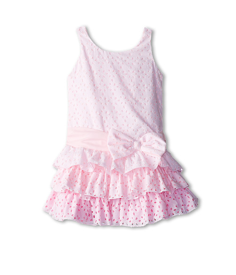 Biscotti - Eyelet Blush Drop Waist Dress (Little Kids/Big Kids) (Pink) Girl