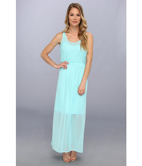 Calvin Klein - Pintuck Maxi Polyester Chiffon Dress (Aqua) Women's Dress