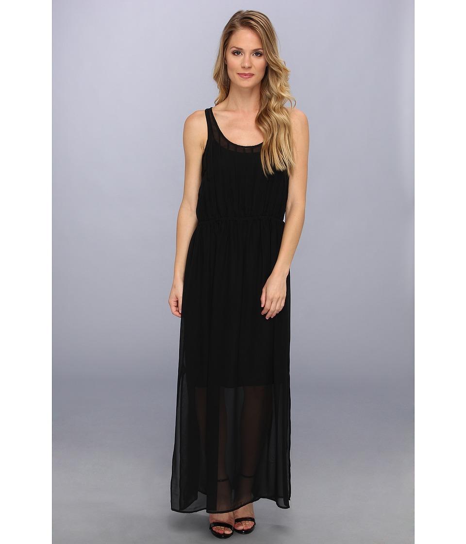 Calvin Klein - Pintuck Maxi Polyester Chiffon Dress (Black) Women