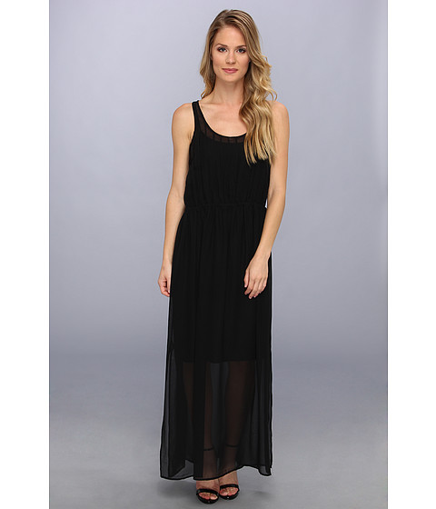 Calvin Klein - Pintuck Maxi Polyester Chiffon Dress (Black) Women's Dress