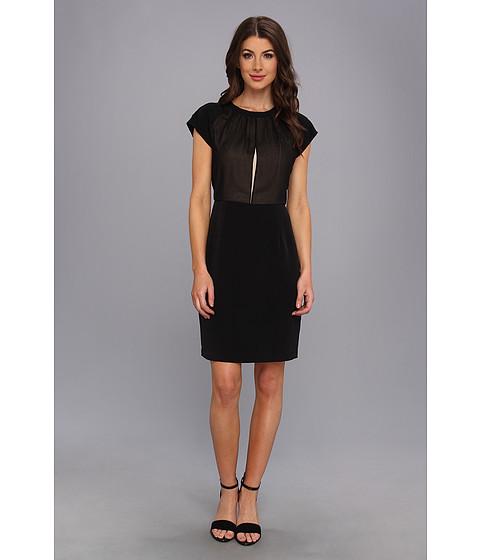 Calvin Klein - S/S Split Top Poly Chiffon Dress (Black) Women