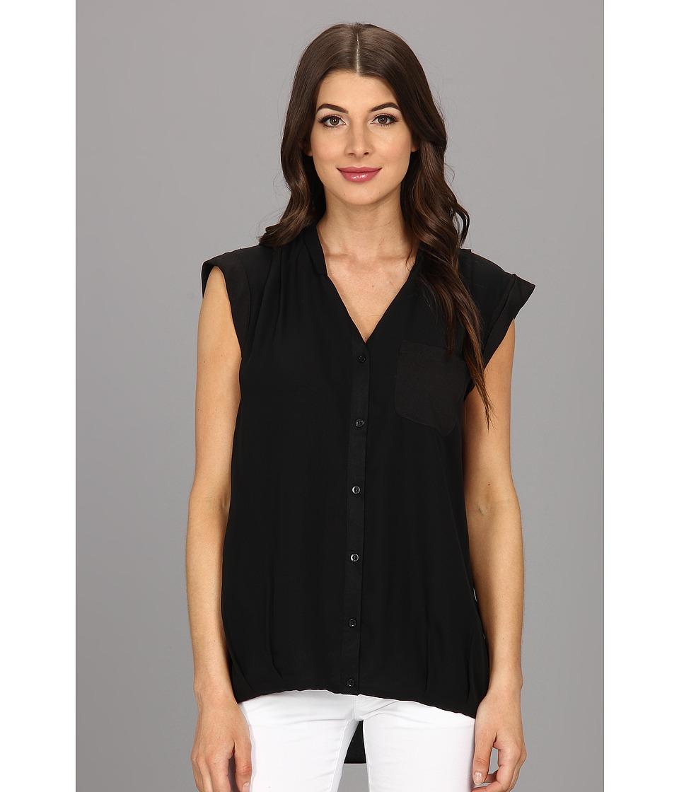 Calvin Klein - One Pocket Box Polyester Chiffon Top (Black) Women