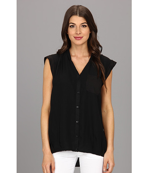 Calvin Klein - One Pocket Box Polyester Chiffon Top (Black) Women