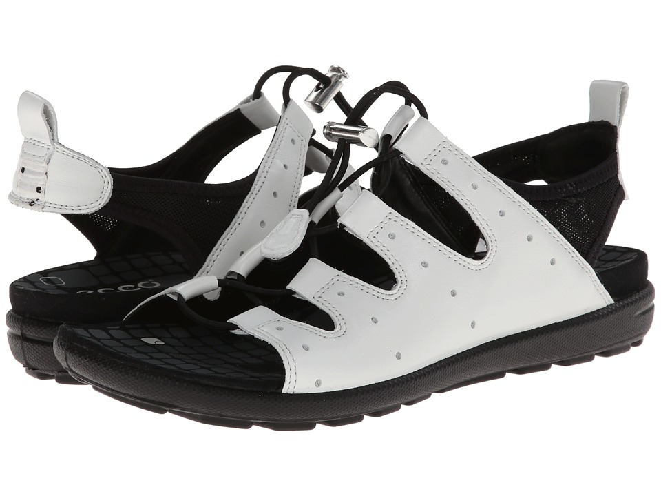 ECCO - Jab Toggle Sandal (White/Black) Women's Sandals