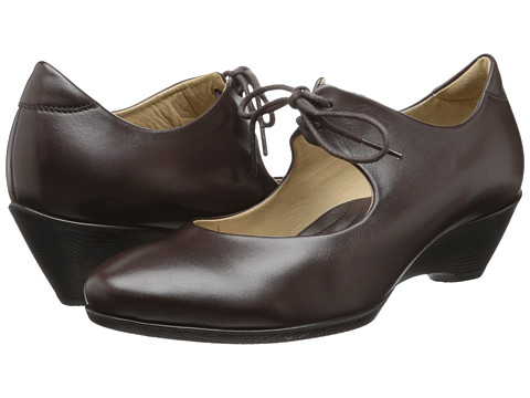 ECCO - Sculptured 45 W Lace (Coffee) Women's Wedge Shoes