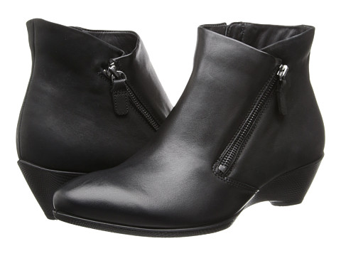 ECCO - Sculptured 45 W Ankle Zip (Black/Black) Women's Dress Zip Boots