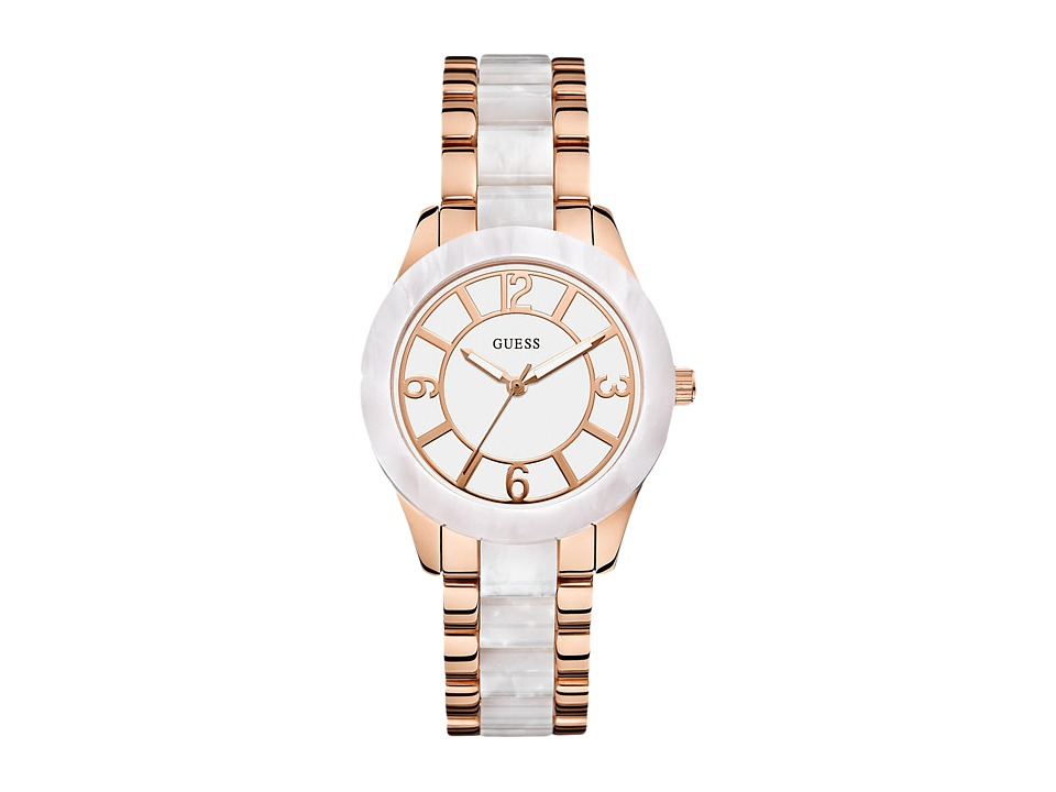 GUESS - U0074L2 (Gold/Marbelized White) Watches